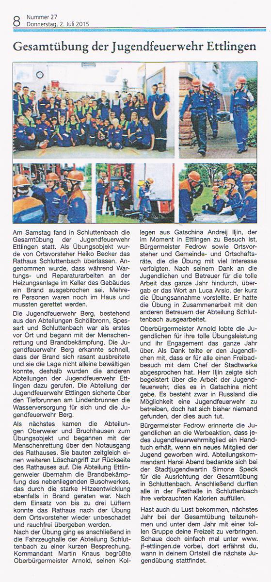 Gesamtübung der Jugendfeuerwehr Ettlingen