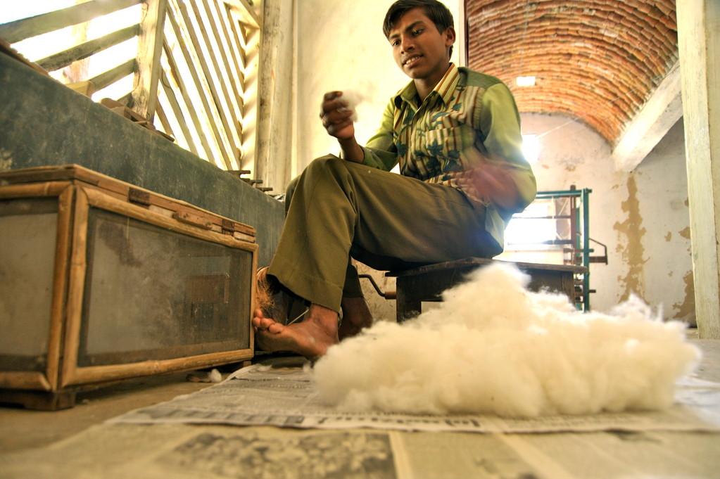 Manuelles Entfernen von Baumwollkapselresten und Verschmutzungen