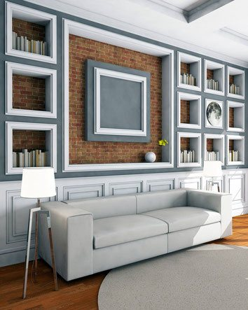 CROWN MOULDINGS AND BASEBOARDS IN ELEGANT ROOM