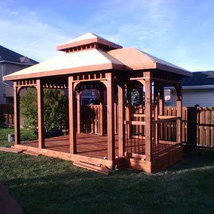 Create a backyard living space with a unique rectangular shaped gazebo. Perfect for an outdoor kitchen, evening cocktail bar or rustic hanging swing.