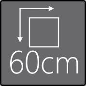 Das Außenmaß beträgt 60x60cm