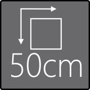 Das Außenmaß beträgt 50x50cm