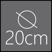 Das Spiegelelement hat einen Gesamtdurchmesser von 20cm