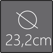 Das Spiegelelement hat einen Gesamtdurchmesser von 23,2cm