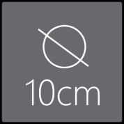 Das Spiegelelement hat einen Gesamtdurchmesser von 10cm