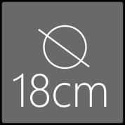 Das Spiegelelement hat einen Gesamtdurchmesser von 18cm
