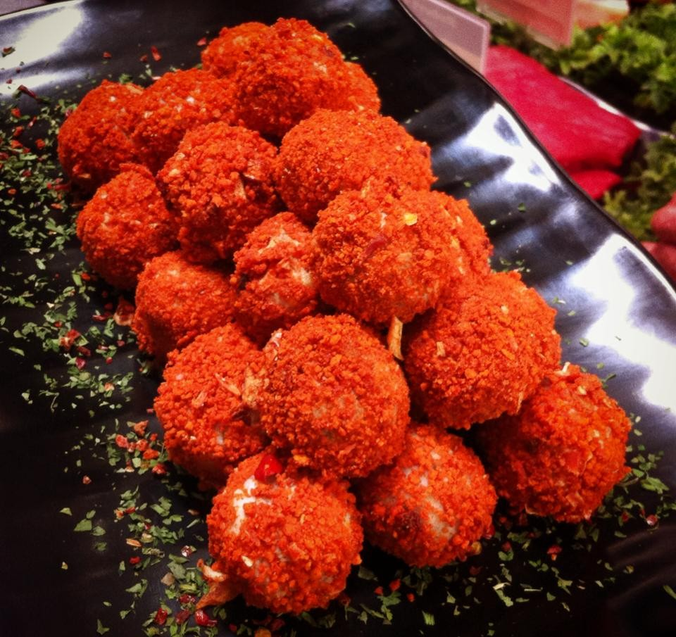 Red Crumb Savoury Sausage Balls with Batter