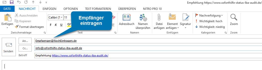 Bild OUTLOOK: Ansicht nach Klick auf mailto:Empfaenger@NochEintragen.de?cc=info@soforthilfe-status-lba-audit.de&subject=Empfehlung https://www.soforthilfe-status-lba-audit.de/