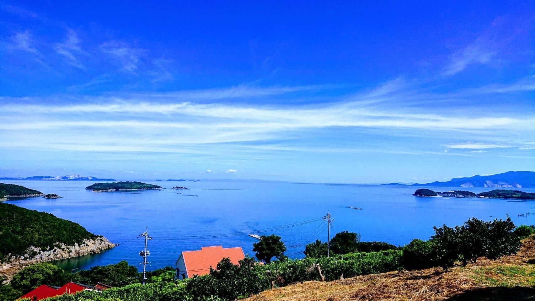 みかん山からの眺め。遠く四国・淡路島を臨む。