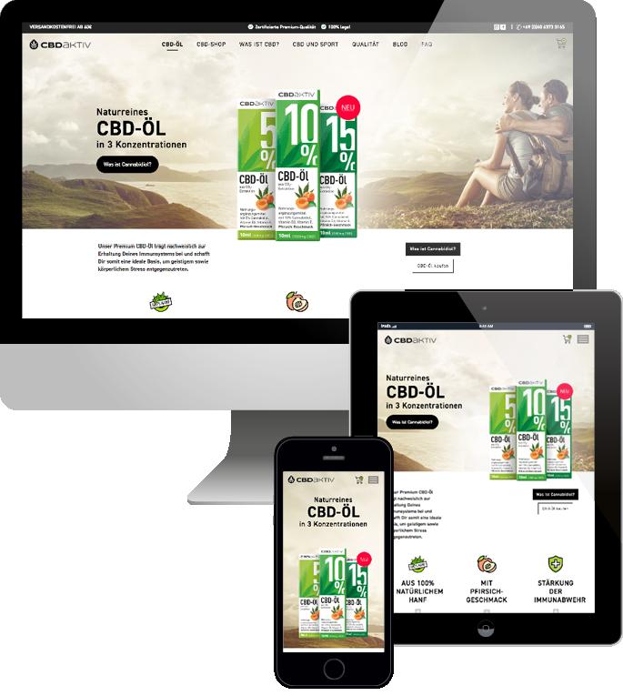 Jimdo responsive Web Design cbd aktiv Webshop