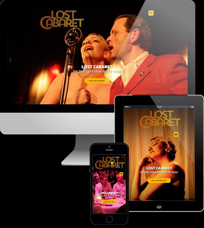 Jimdo responsive Web Design Lost Cabaret - Die 20er Jahre Show