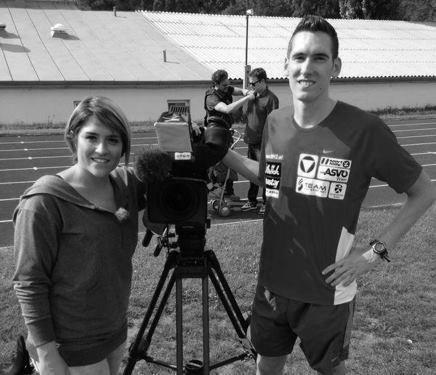 Veronika Kratochwil im Gespräch mit Olympiateilnehmer Andreas Vojta