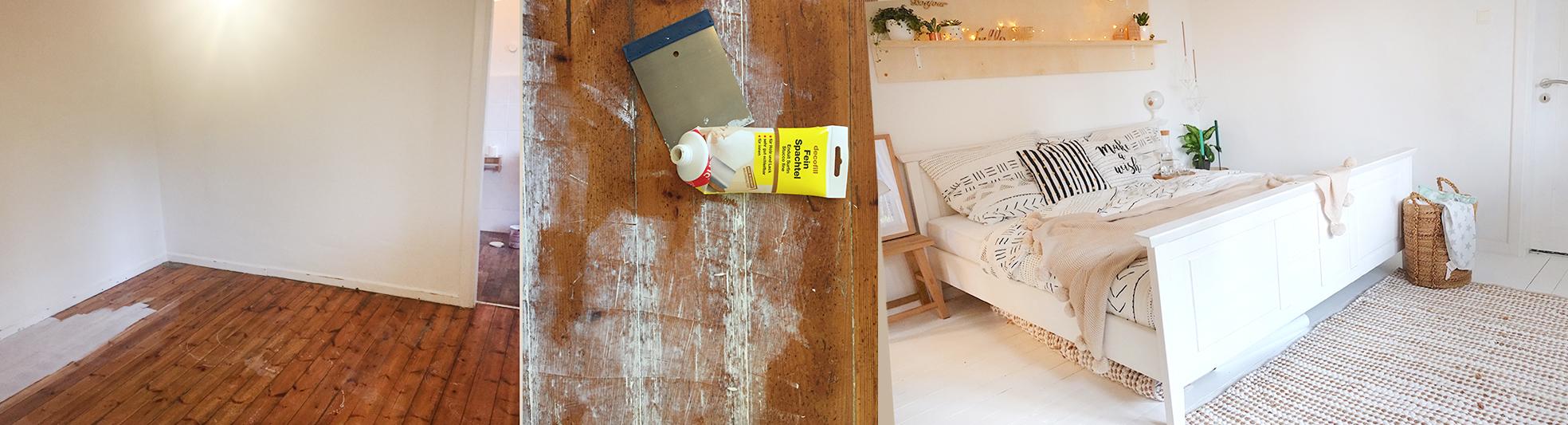 Lybstes Haus: Holzboden weiß lackieren
