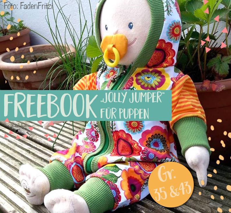 Jolly Jumper Freebook Nr.2: Puppenanzug selber nähen! - Lybstes.
