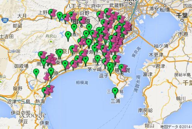 神奈川県のボランティアセンター・マップ (画像クリックしてサイト移動)
