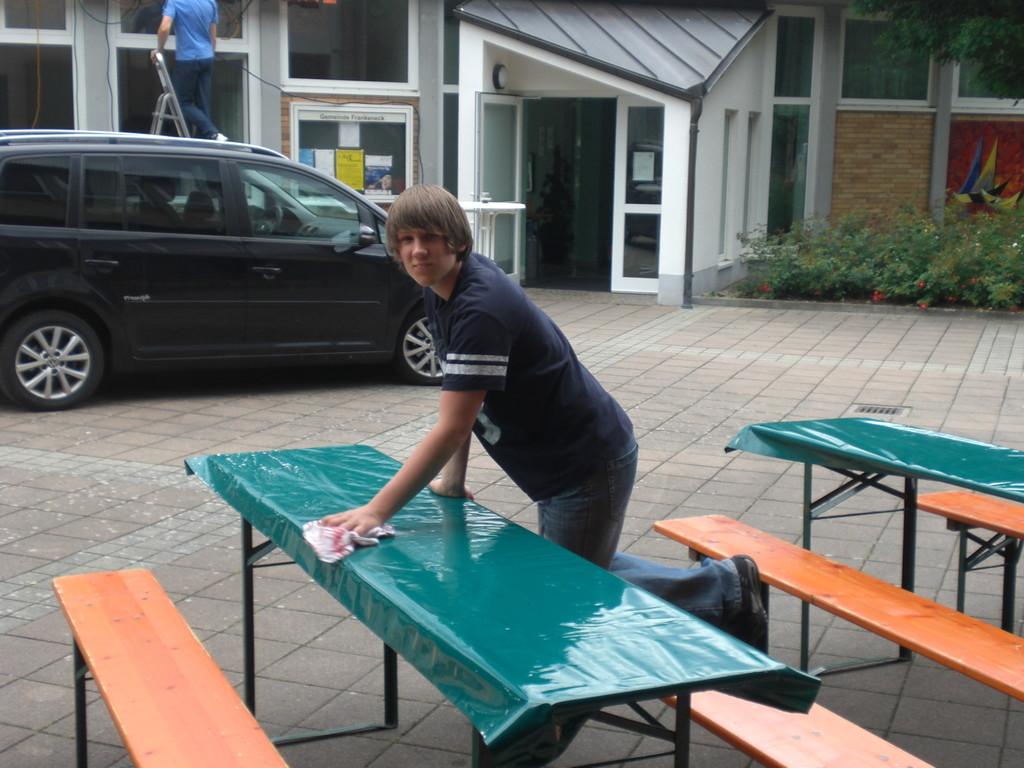 Philip beim Aufbau