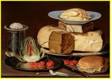 Clara Peeters - Nature morte au fromage, artichaut et cerises  vers 1625