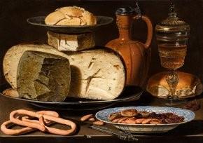 Clara Peeters - Nature morte au fromage, amandes et bretzels  vers 1612-1615