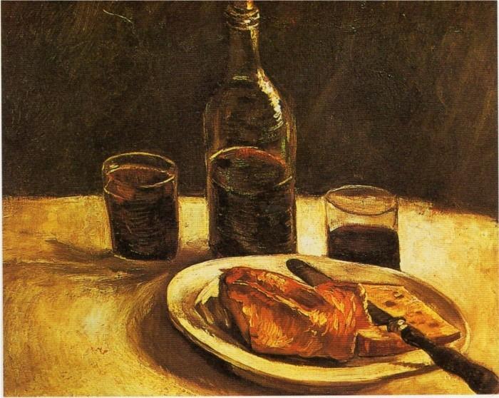 Van gogh (mai 1886)-Nature morte avec fromage, bouteille, verres