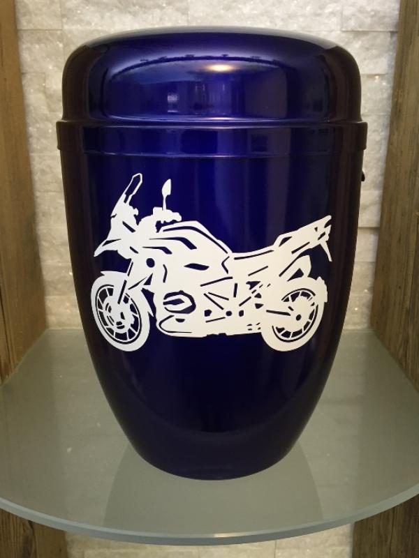 """Urne """"Lightning"""" blau mit BMW R1200GS in weiß"""