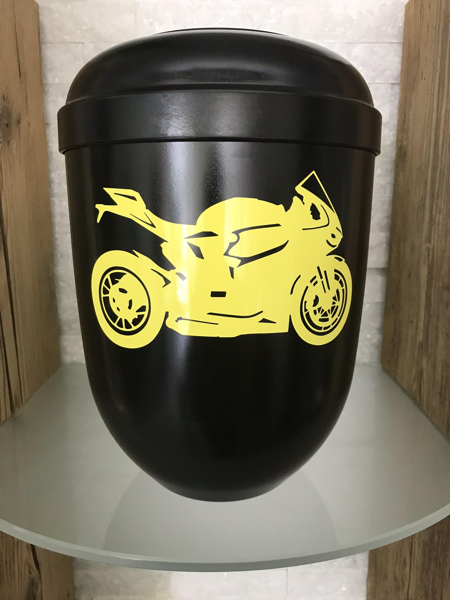 """Urne """"Lightning"""" schwarz mit Ducati Panigale in gelb"""