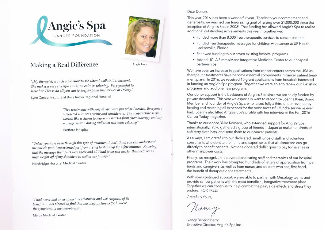 Angie's Spa Annual Roport