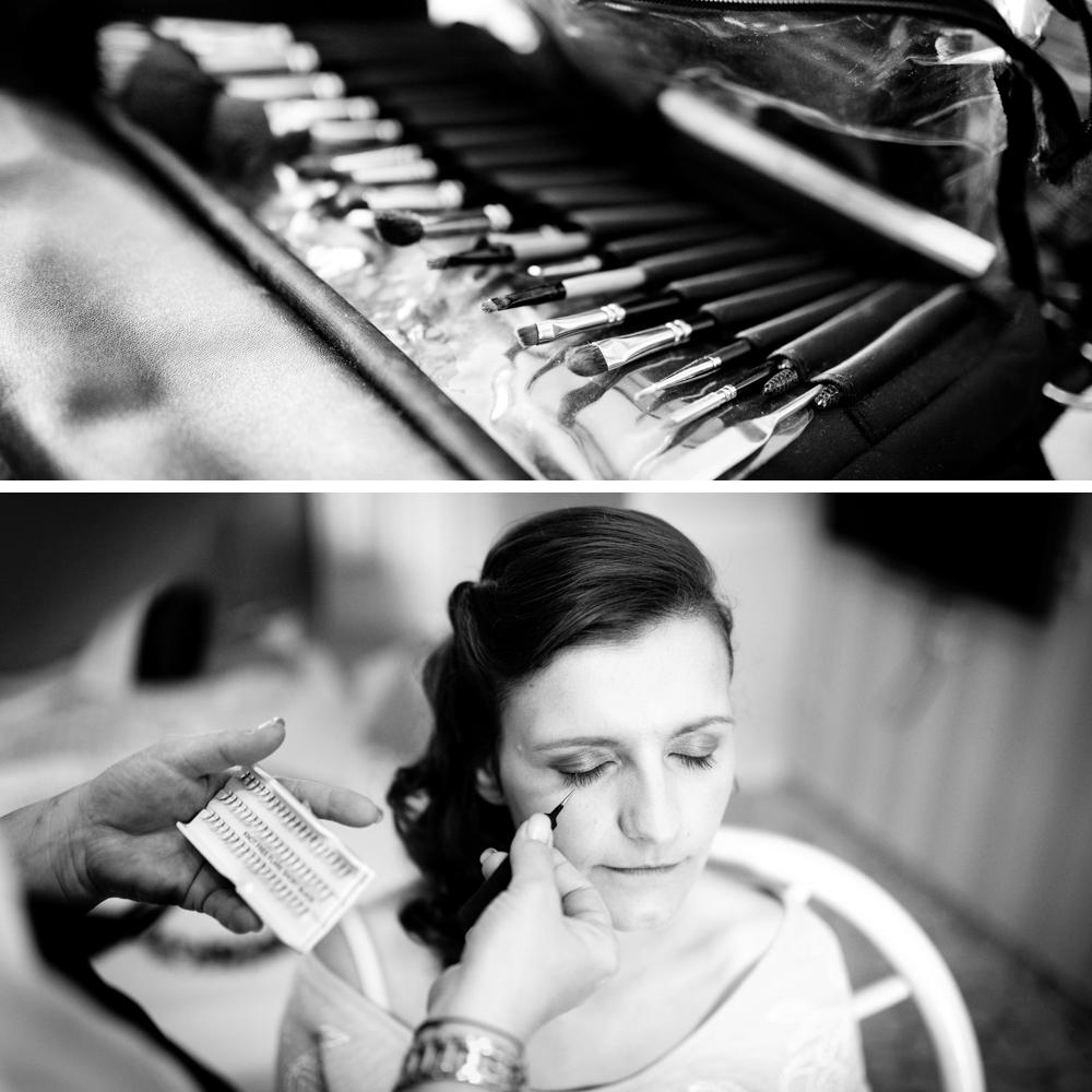 Bild: Braut MakeUp Inspiration beim Ankleiden vor der Hochzeit Getting Ready