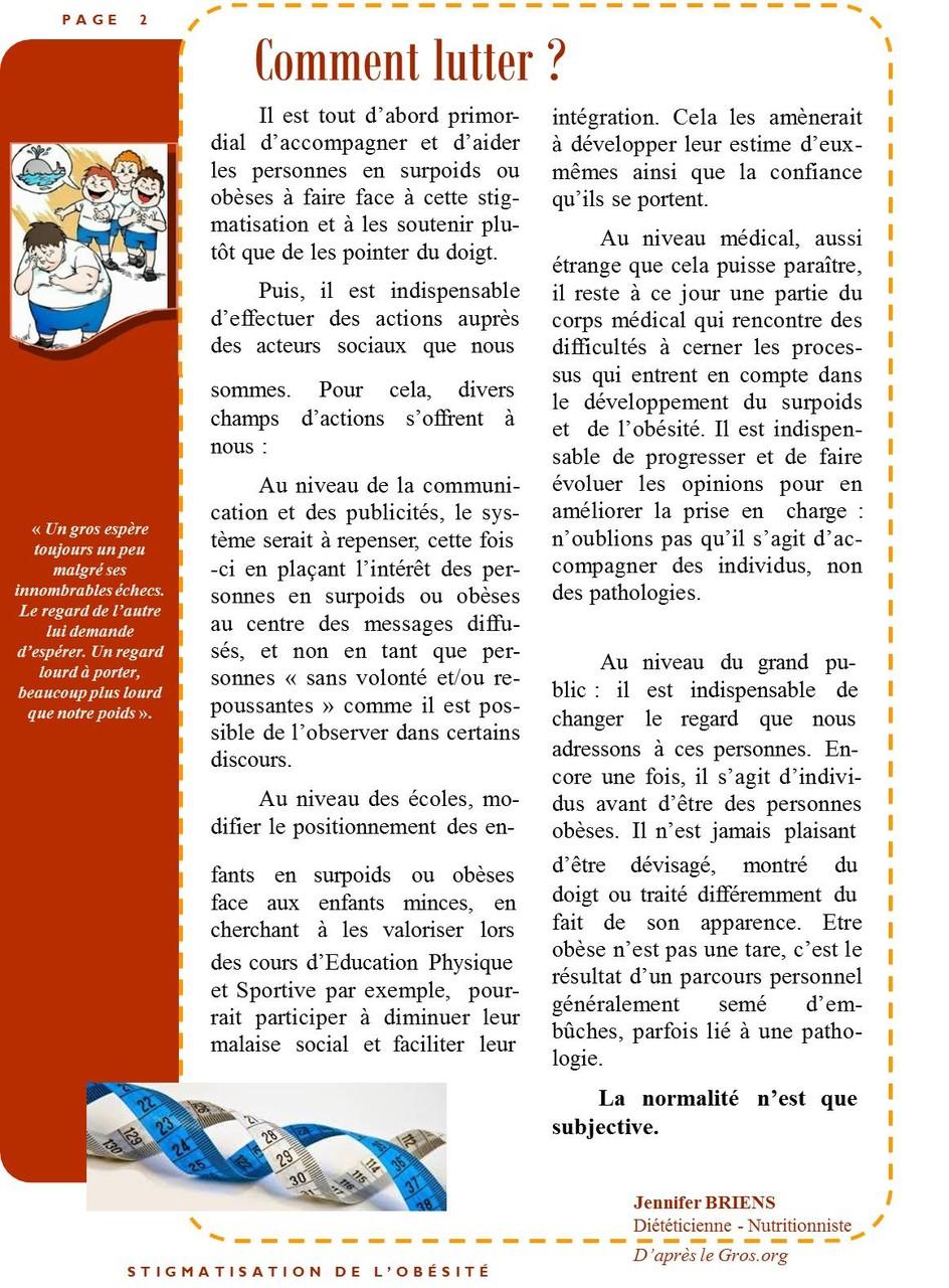 Stigmatisation de l'obésité page 2/2