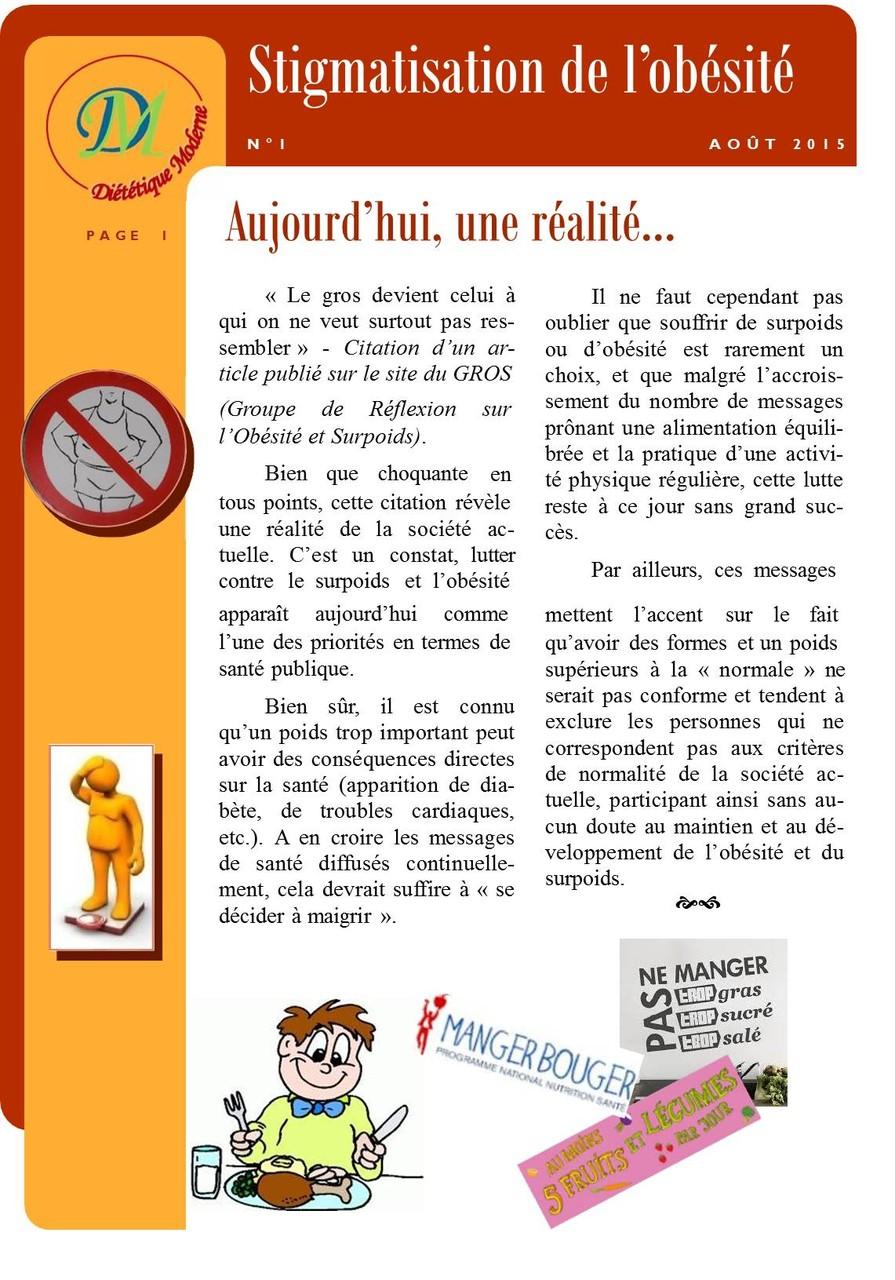 Stigmatisation de l'obésité page 1/2