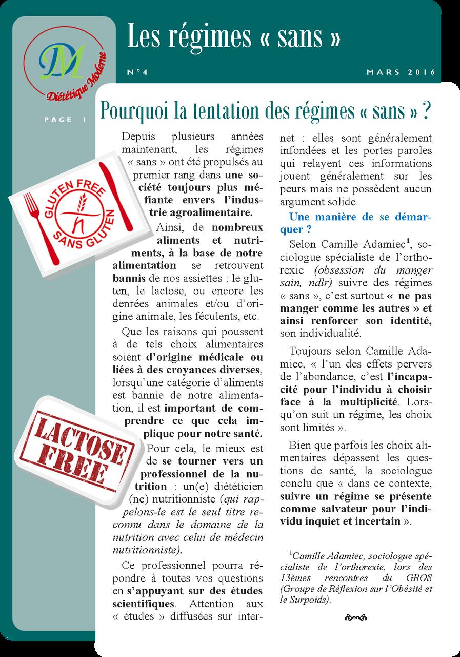 """Les régimes """"sans"""" page 1/2"""