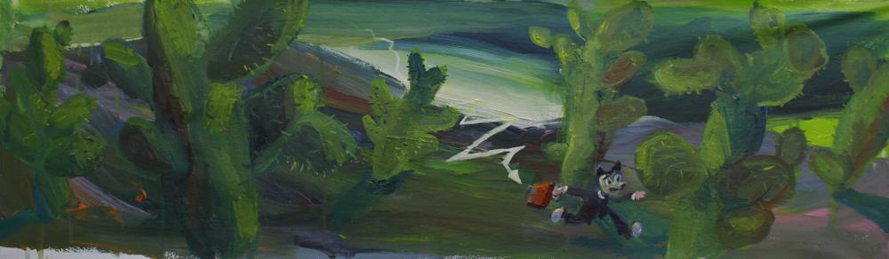 Auf der Flucht. Öl auf Leinwand  33 x 110 cm