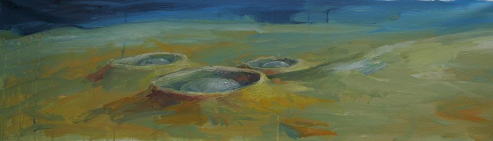 Landschaft. Öl auf Leinwand 30 x 100 cm