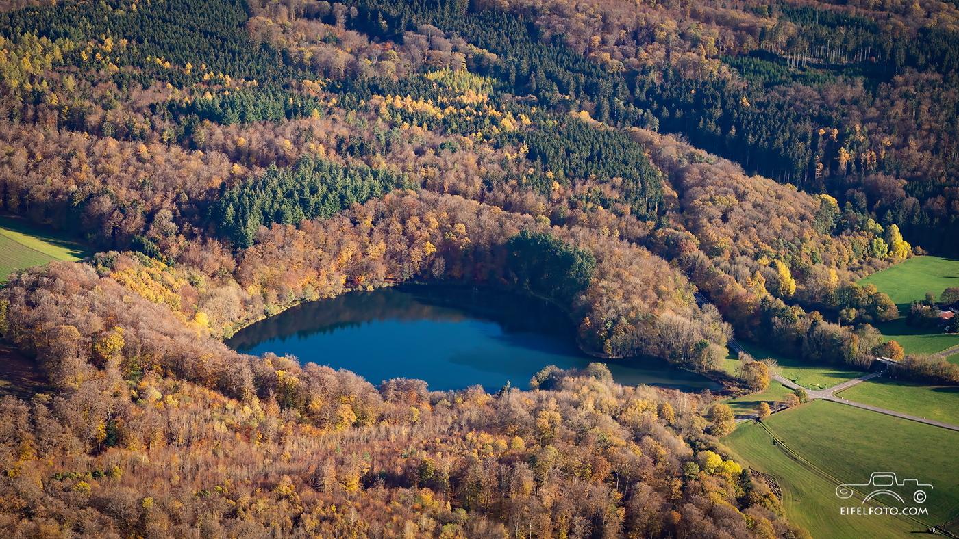 Luftbild: Versteckt im Laubwald: Das Holzmaar