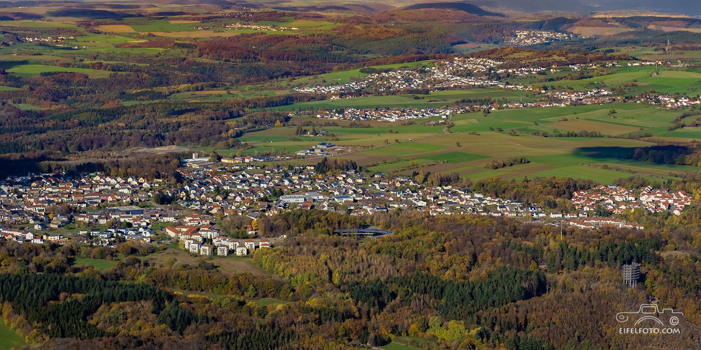 Luftbild, Blick von Orscholz bis Freudenburg