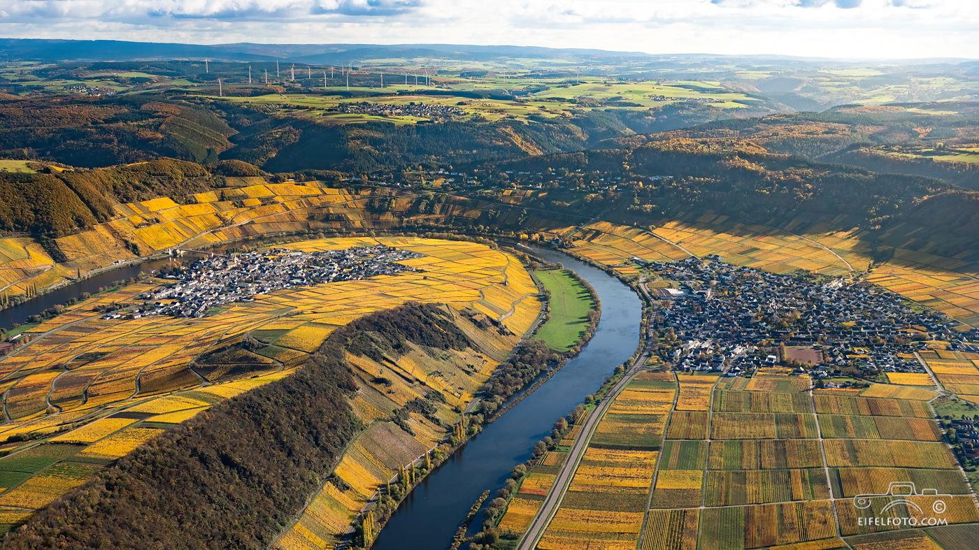 Luftbild: Die Mosel-Weinorte Leiwen und Trittenheim