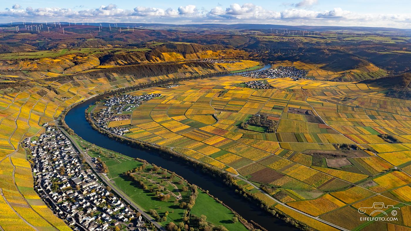 Luftbild: Klüsserath, Köwerich, Eurostrand und Leiwen im Moseltal