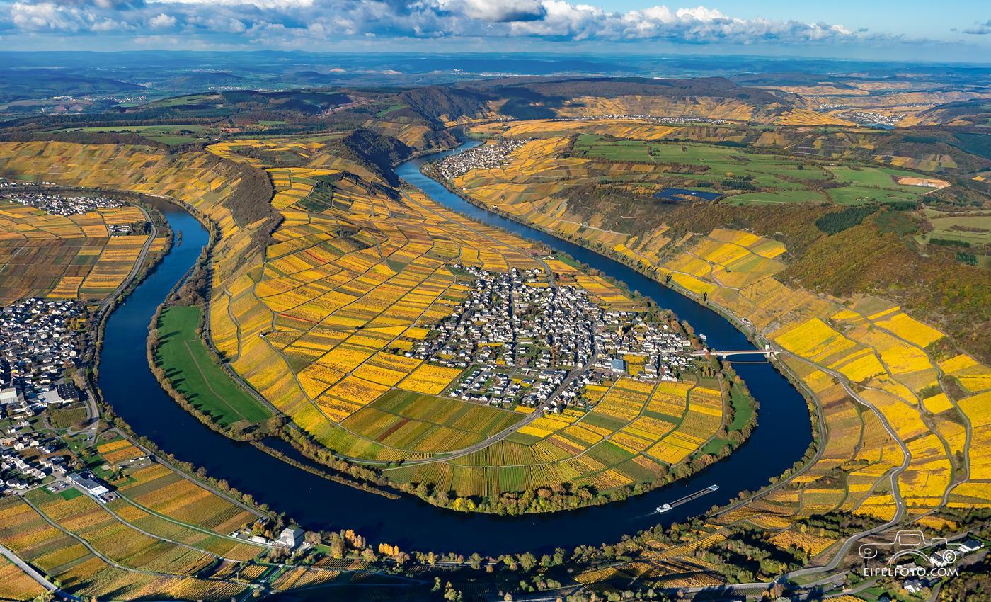 Luftbild: Eine der schönsten Moselblicke: Die Moselschleife bei Trittenheim
