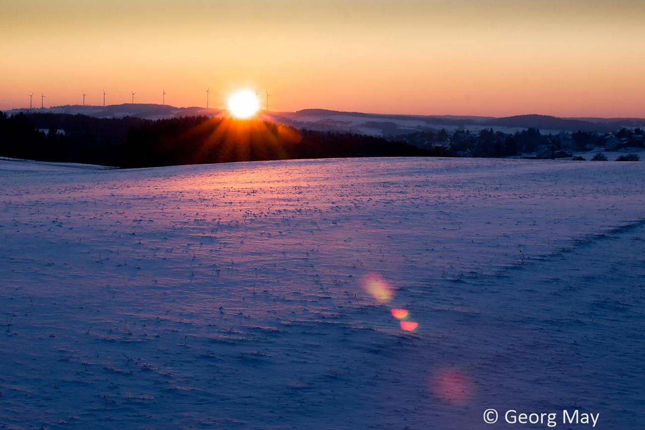 Sonnenuntergang bei Sistig in der Eifel