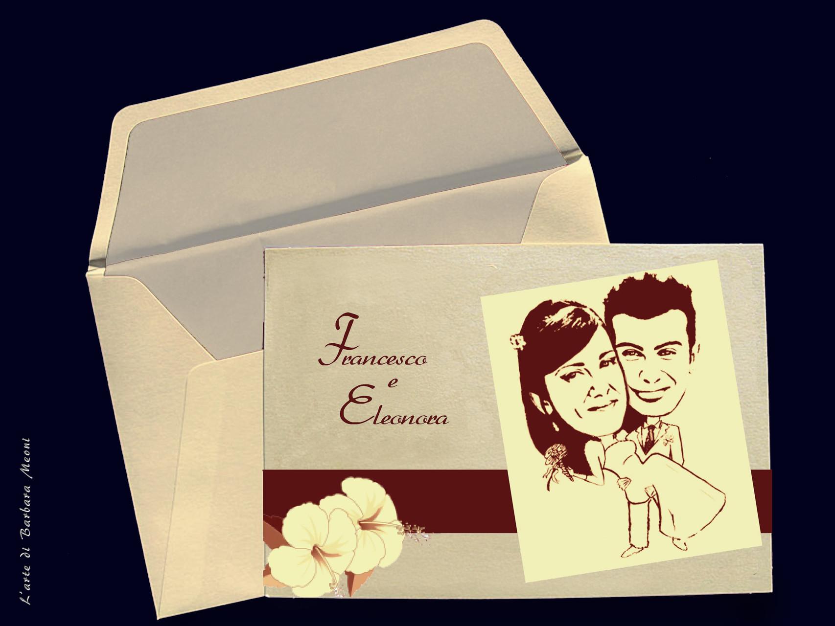 Caricatura stilizzata Francesco e Eleonora su partecipazione di nozze