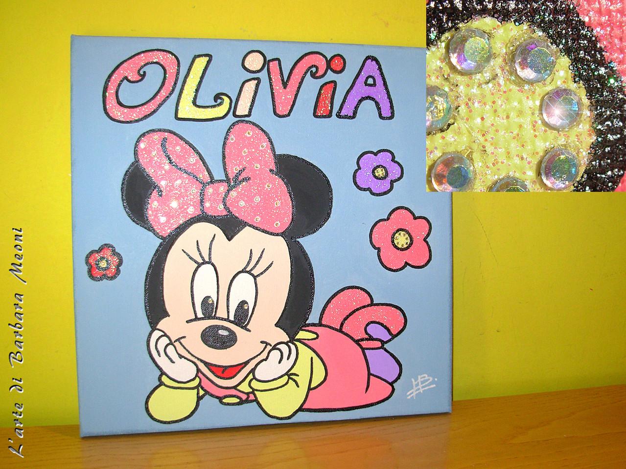 Minnie-Acrilico su tela con effetto glitter iridescente e con rifiniture in strass arcobaleno 30x30 cm