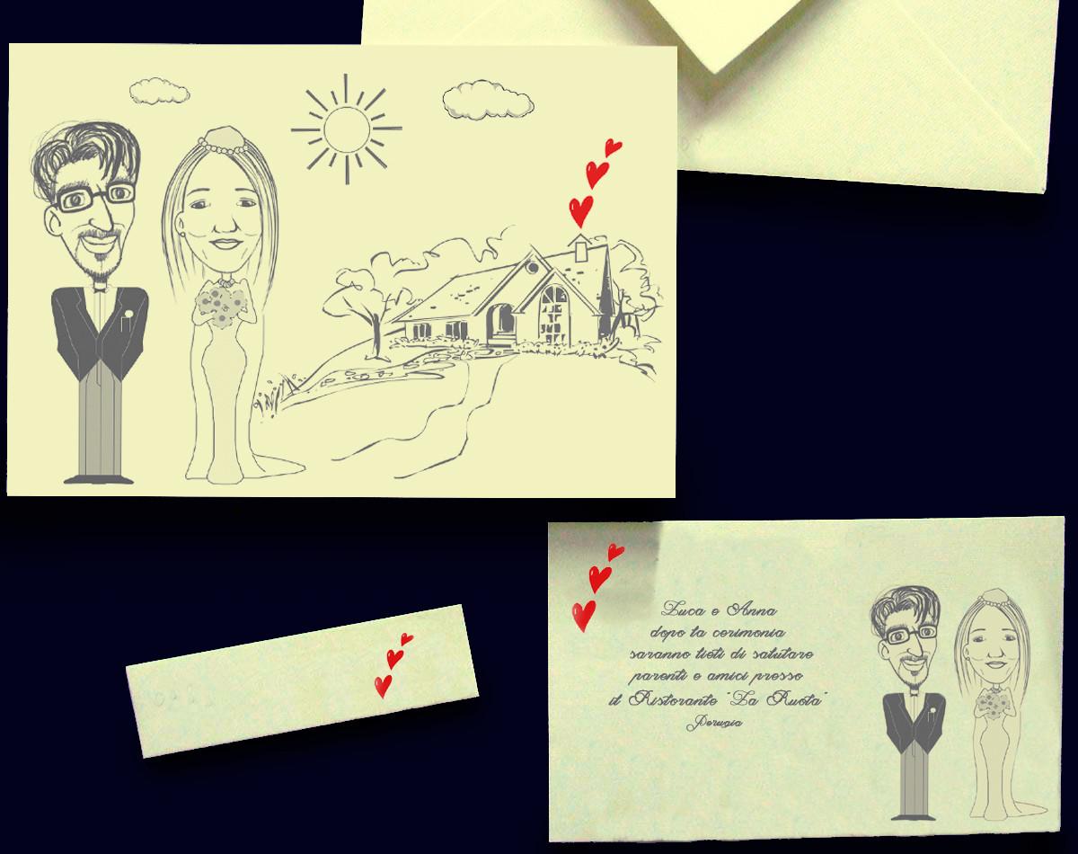 Caricatura stilizzata Luca e Anna su partecipazione di nozze