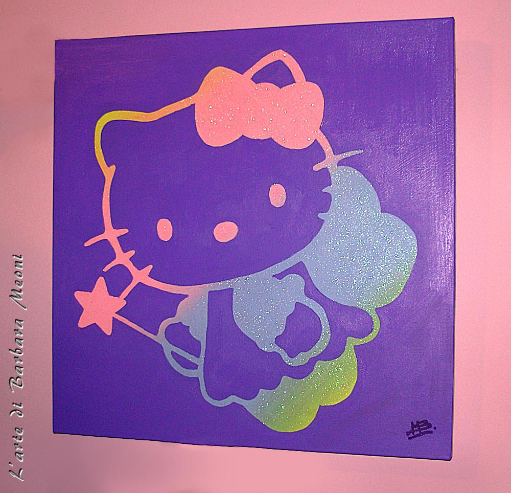 Hello Kitty-Acrilico su tela con effetto glitter iridescente 50x50 cm