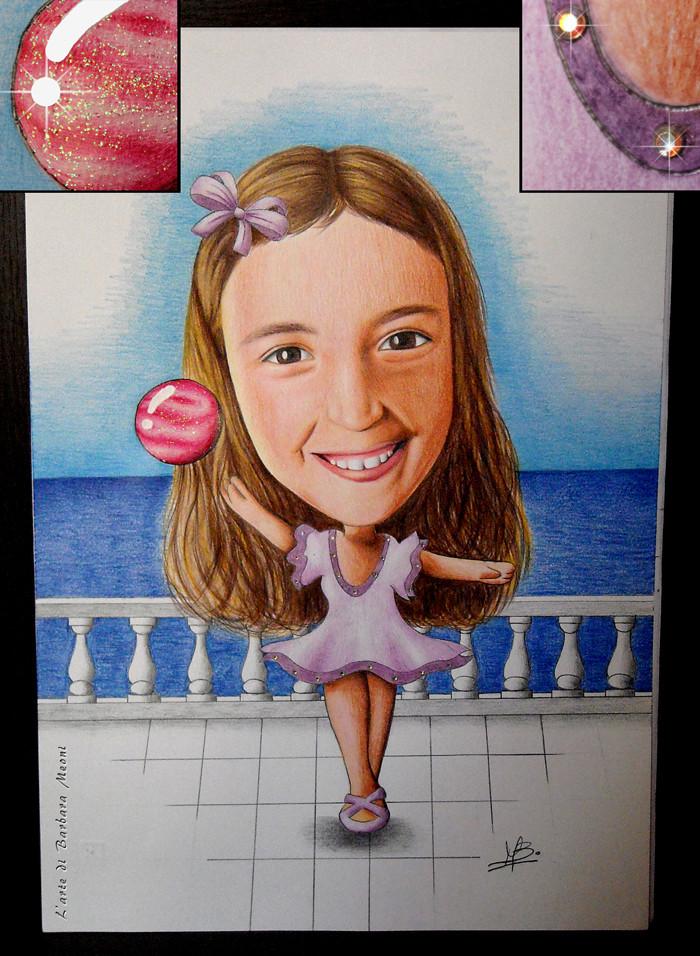 Caricatura realistica Consuelo ginnasta - Matite su cartoncino con effetto glitter iridescente e con rifiniture in strass arcobaleno 35x50 cm