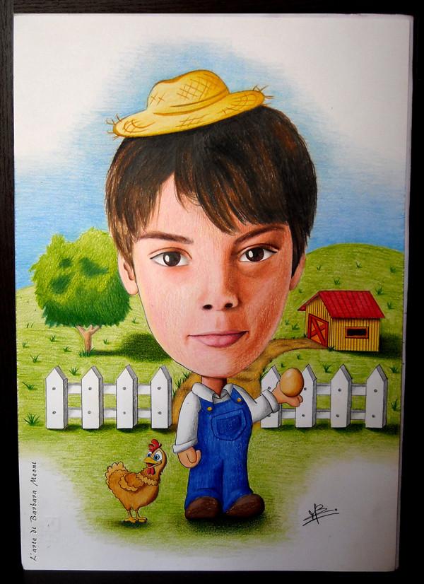Caricatura realistica Alessandro contadino - Matite su cartoncino 35x50 cm