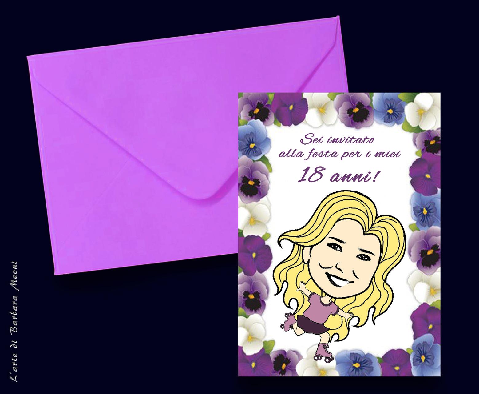 Caricatura stilizzata Silvia su invito di compleanno