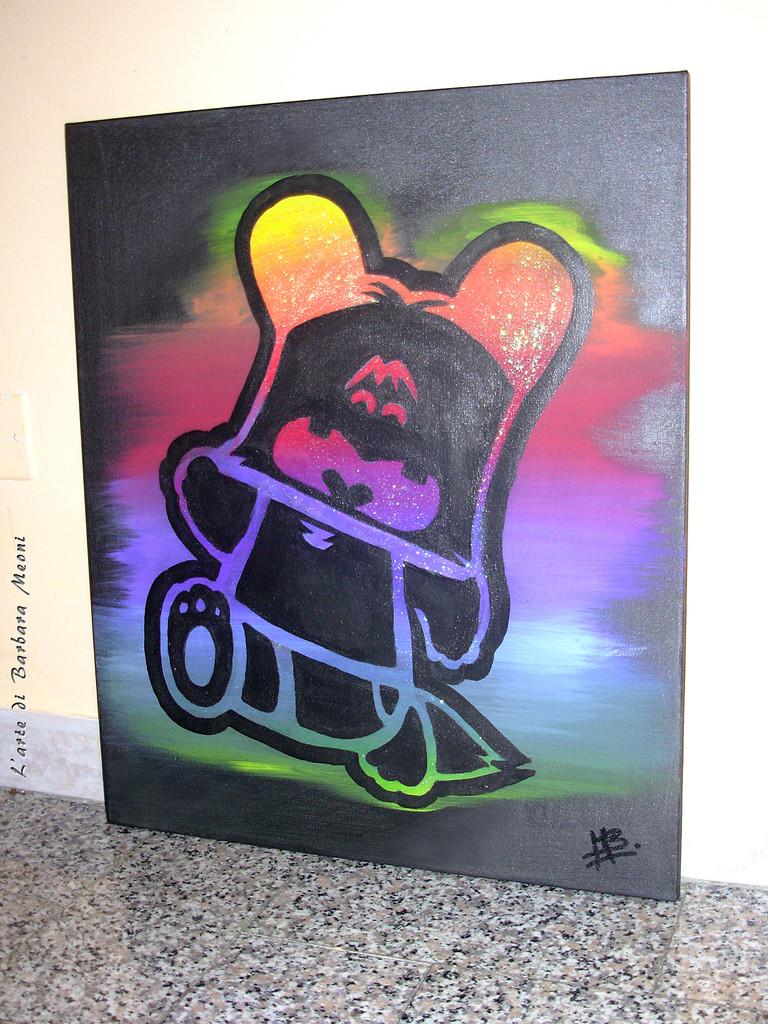 Hello Spank-Acrilico su tela con effetto glitter iridescente 50x70 cm