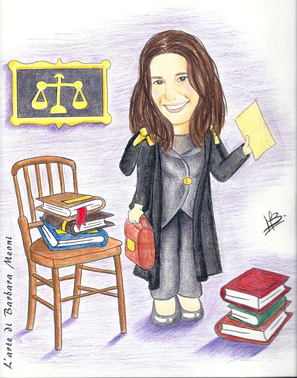 Caricatura realistica Yara avvocato - Matite su cartoncino 25x35 cm