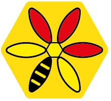 Logo Imkerei Marquart Biene auf Wabe
