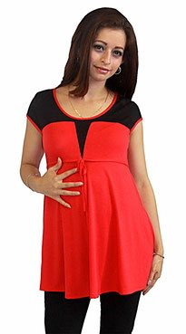 red and black maternity top