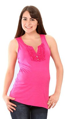 pink sleeveless maternity top